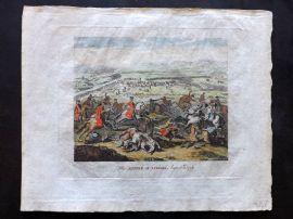 Field of Mars 1801 Hand Col Military Print. Battle of Luzzara. Italy